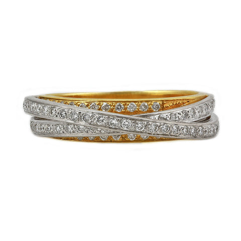 0.50ct Round Diamonds in 18K 2Tone Gold Overlapping Band Ring