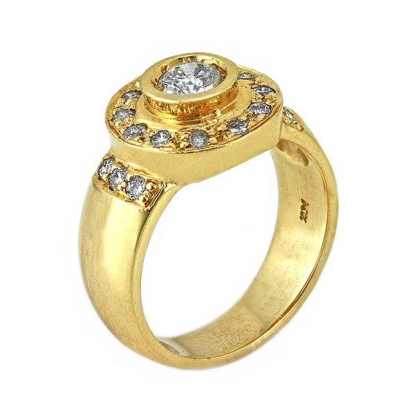 0.70ct Round Diamonds in 14K Yellow Gold Round Pinky Ring