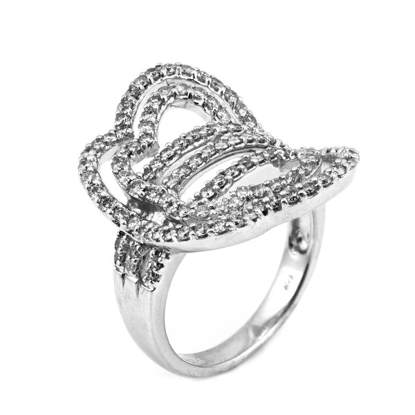 1.15ct Diamonds in 14K White Gold Sideways Butterfly Ring