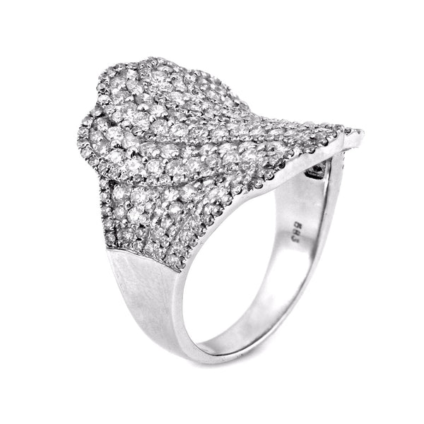 2.24ct Round Diamonds in 14K White Gold Flower Concave Anniversary Ring