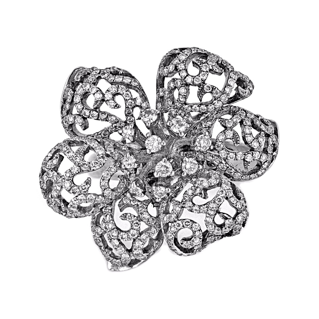 0.80ct Round Diamonds in 18K White Gold Flower Cocktail Ring