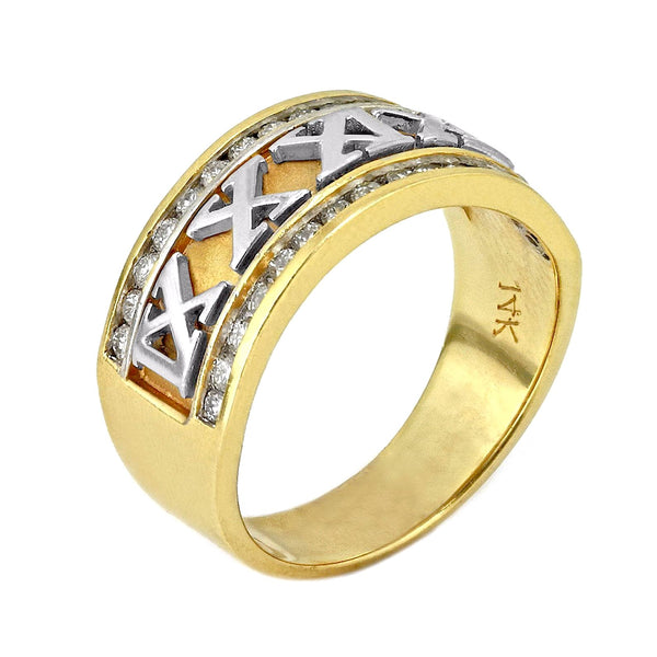 0.50ct Channel Round Diamonds in 14K 2Tone Gold Roman Numeral Band Ring