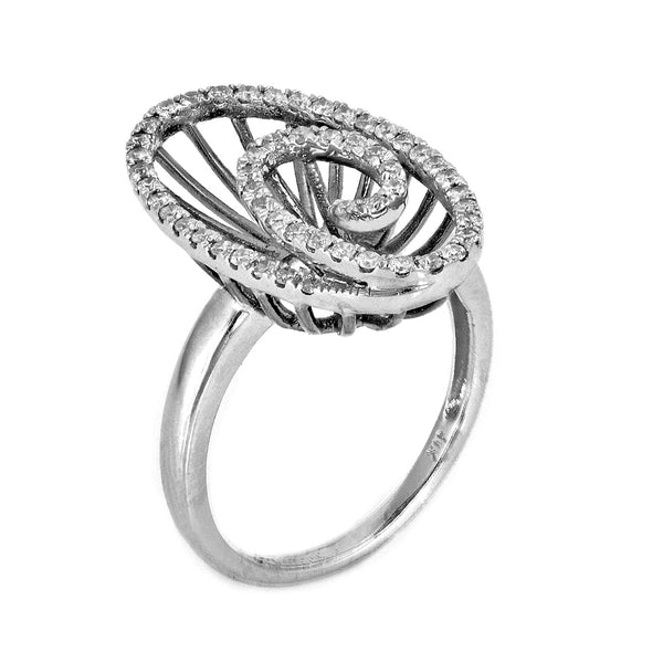 0.42ct Round Diamonds in 14K White Gold Oval Swirl Statement Ring