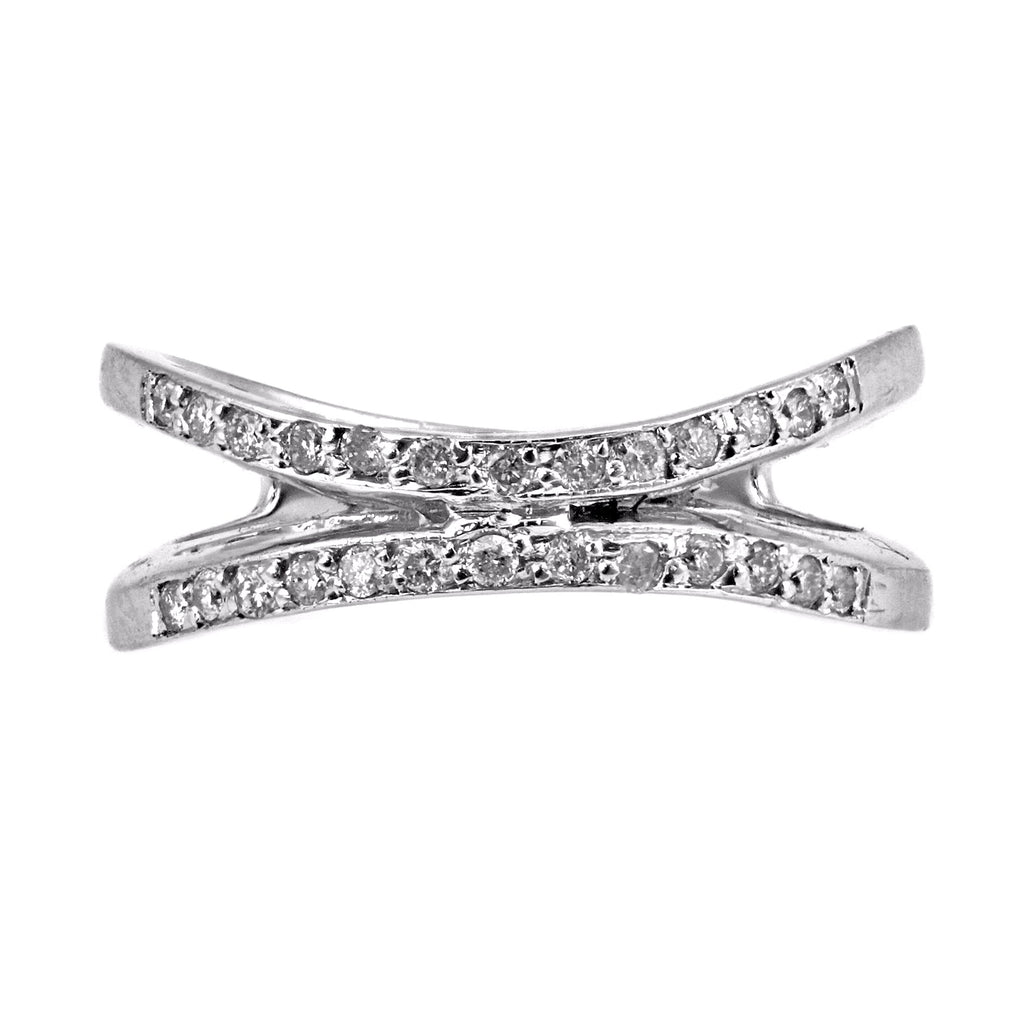 0.30ct Round Diamonds in 14K White Gold Double Curved Band Ring
