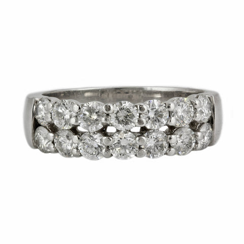 1.28ct Round Diamond in 14K White Gold Wedding Band Ring
