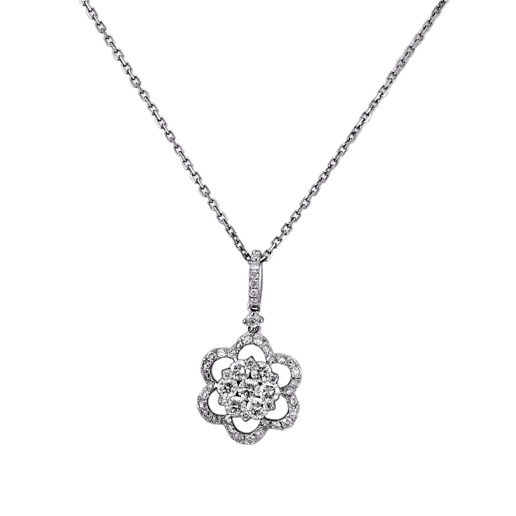 1.00ct Diamonds in 14K White Gold Flower Pendant Necklace 16""
