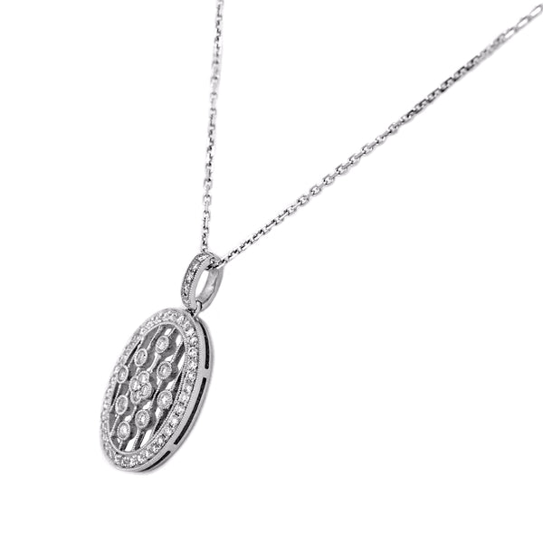 0.65ct Diamonds in 14K White Gold Oval Pendant Necklace 16""