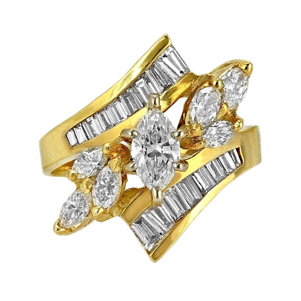 1.80ct Marquise & Baguette Diamonds in 14K Yellow Gold Wedding Anniversary Ring