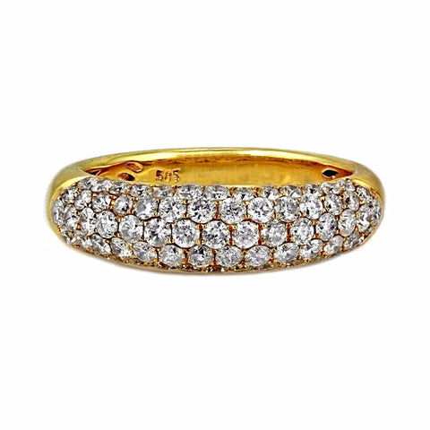 1.31ct Pavé Round Diamonds in 14K Yellow Gold Wedding Band Ring