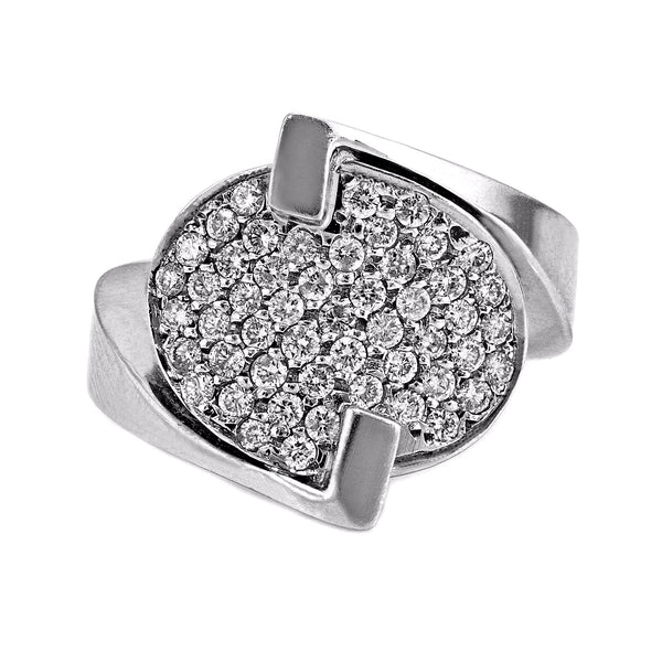 0.50ct Pavé Round Diamonds in 14K White Gold Oval Statement Ring