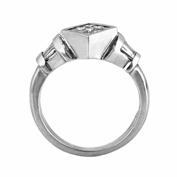 1.00ct Invisible Princess Diamonds in 18K White Gold Engagement Ring