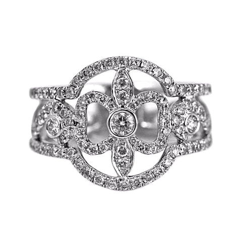 0.80ct Pavé Round Diamonds in 14K White Gold Fluer-De-Lis Ring