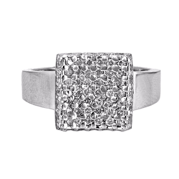 0.50ct Micro Pavé Round Diamonds in 14K White Gold Square Modern Cocktail Ring