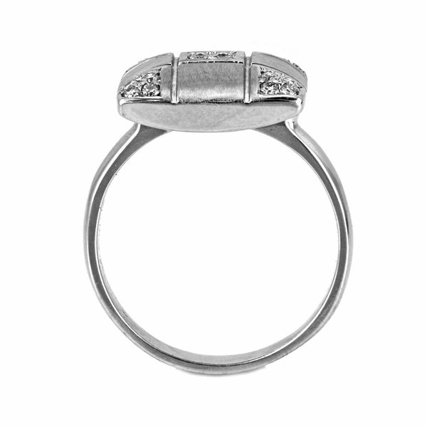 0.25ct Pavé Round Diamonds in 14K White Gold Checkered Cross Cushion Ring