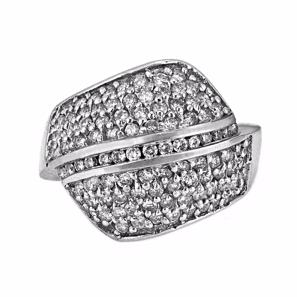1.30ct Micro Pavé Round Diamonds in 14K White Gold Wrap Statement Ring