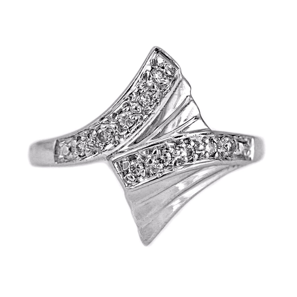 0.85ct Pavé Round Diamonds in 14K White Gold Statement Ring