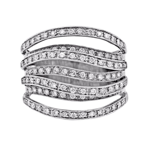 1.40ct Pavé Round Diamonds in 14K White Gold 7-Row Cluster Band Ring