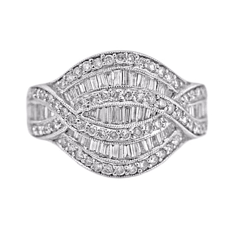 1.41ct Baguette & Round Diamonds 14K White Gold Anniversary Ring