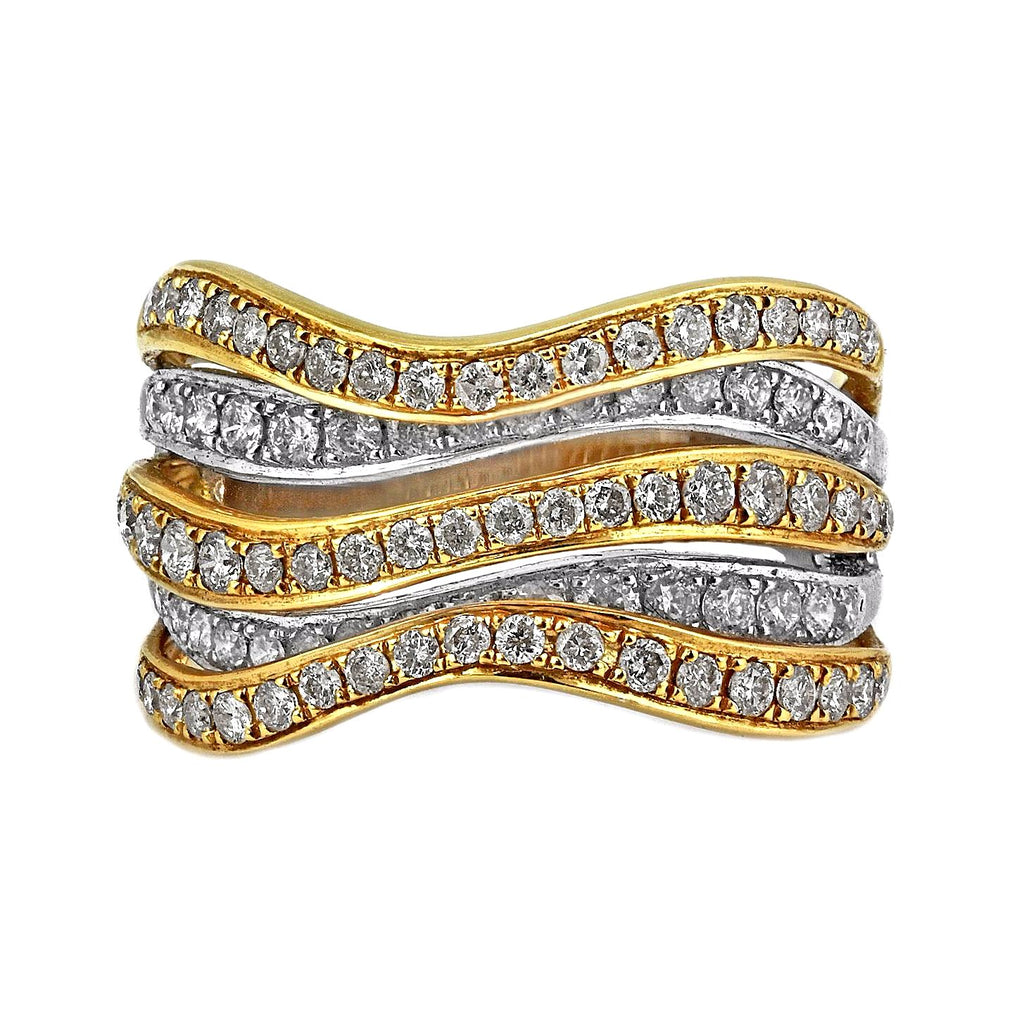 1.24ct Round Diamonds in 14K 2Tone Gold 5-Rows Cluster Wavy Band Ring