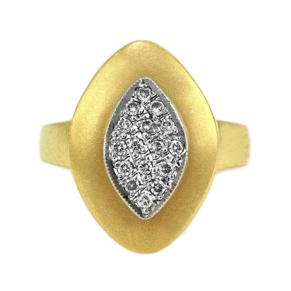 0.20ct Pavé Round Diamonds in 14K 2Tone Gold Rhombus Ring