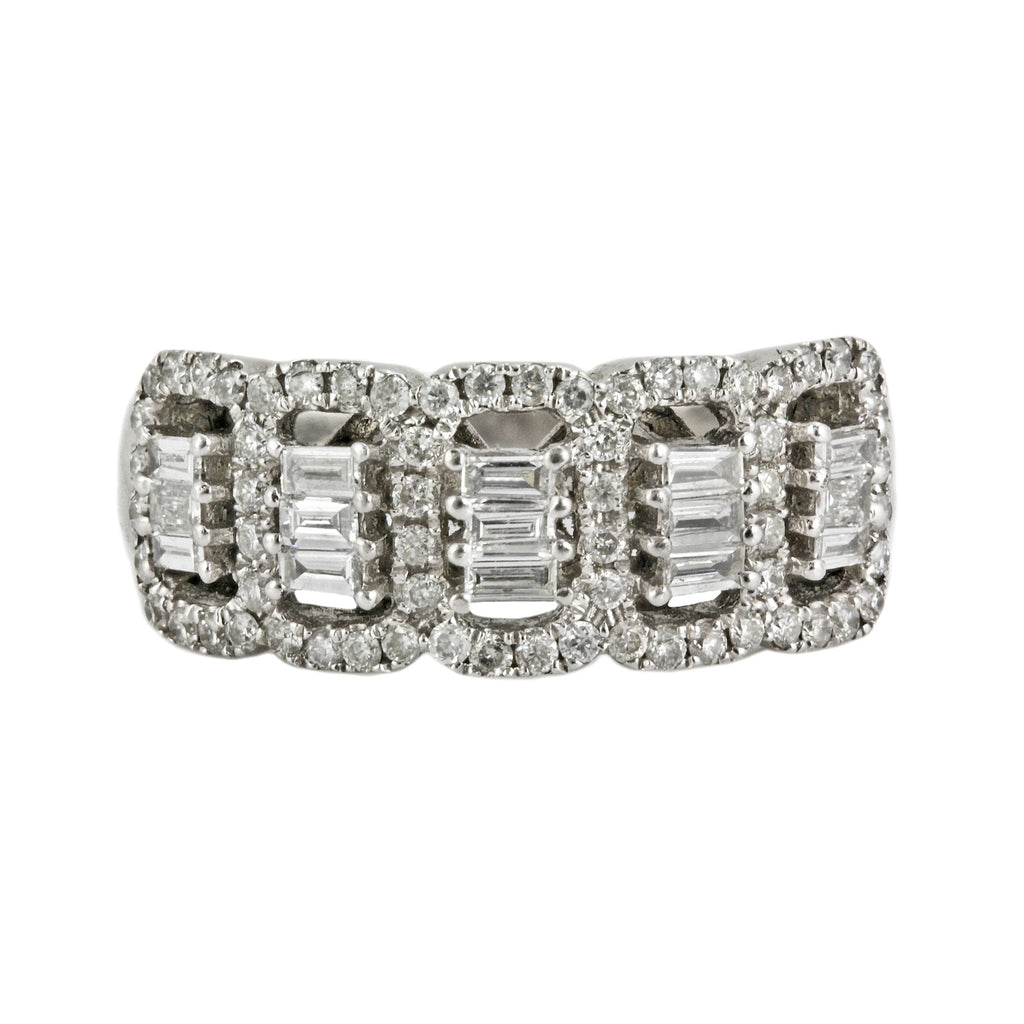1.05ct Round Diamond in 14K White Gold Wedding Band Ring