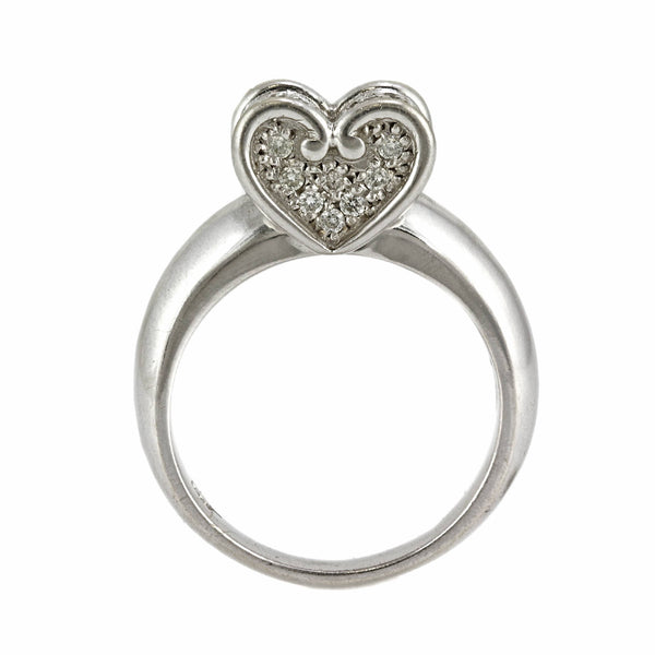 0.50ct Round Diamonds in 14K White Gold Heart Statement Ring