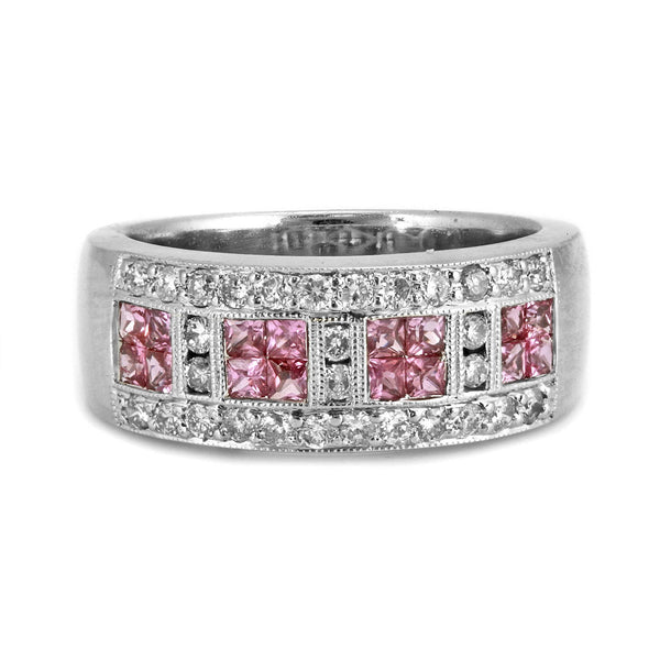 1.21tcw Pink Sappire & Round Diamond in 14K White Gold Band Ring