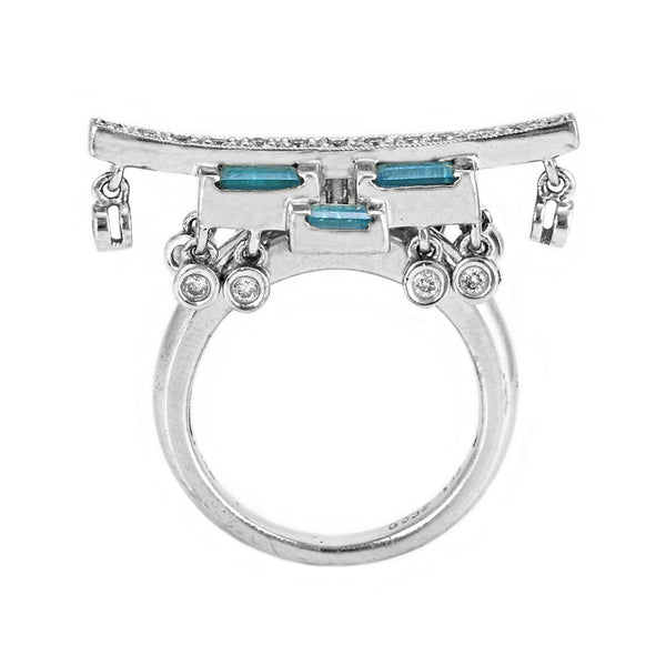 0.60ct Blue Topaz & Diamond 14K White Gold Exotic Chinese Gate Inspired Ring