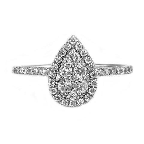 0.90ct Diamond in 14K White Gold Tear-Drop Engagement Ring