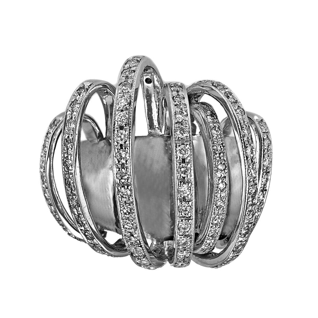 0.80ct Round Diamond in 14K White Gold Exotic Cluster Ring