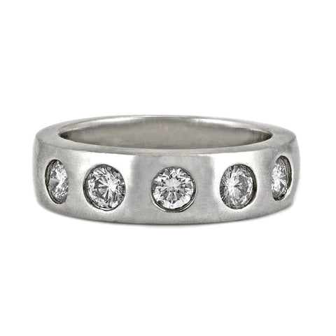 0.65ct Bezel Round Diamond in 14K White Gold Wedding Band Ring