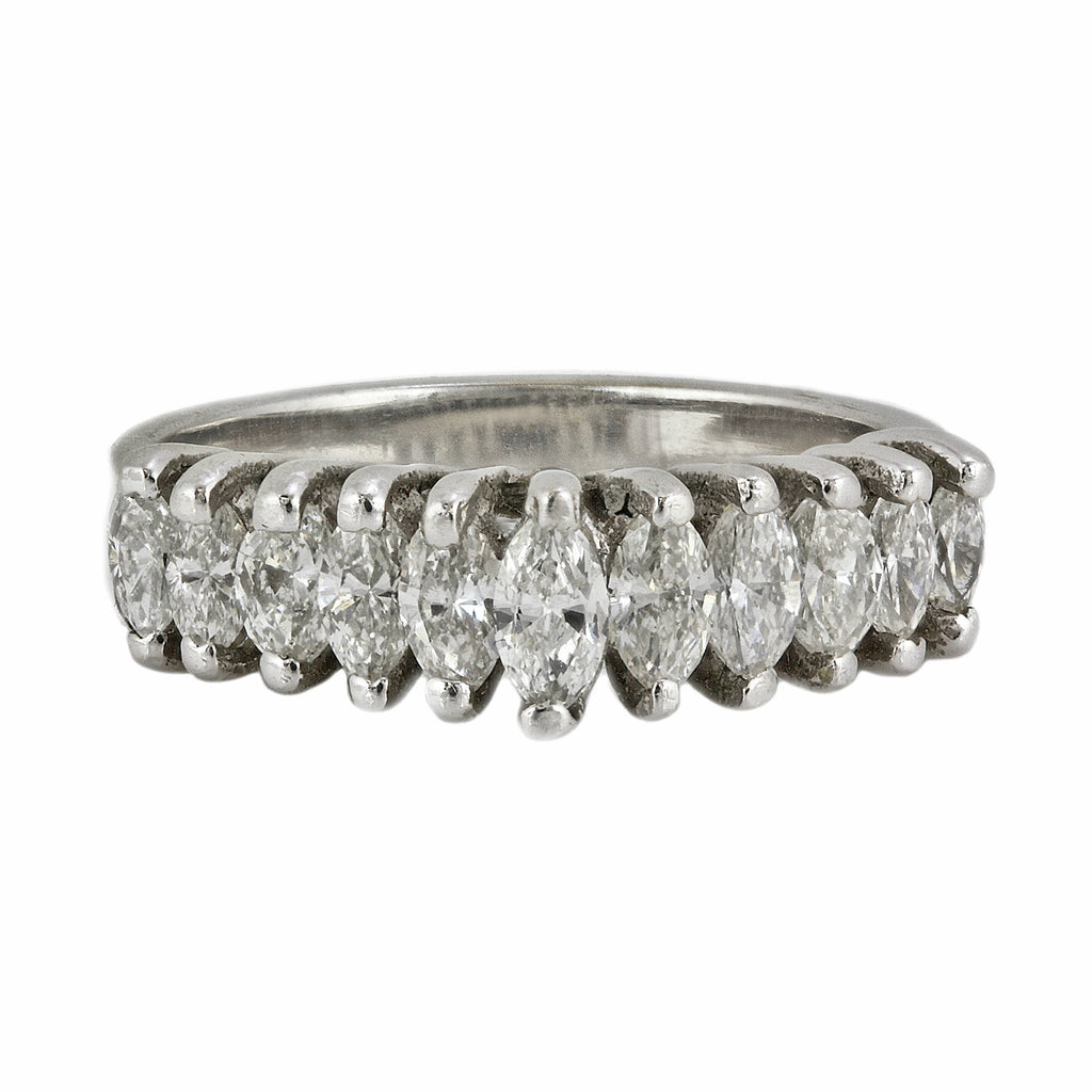 1.00ct Marquise Diamonds in 14K White Gold Wedding Anniversary Ring