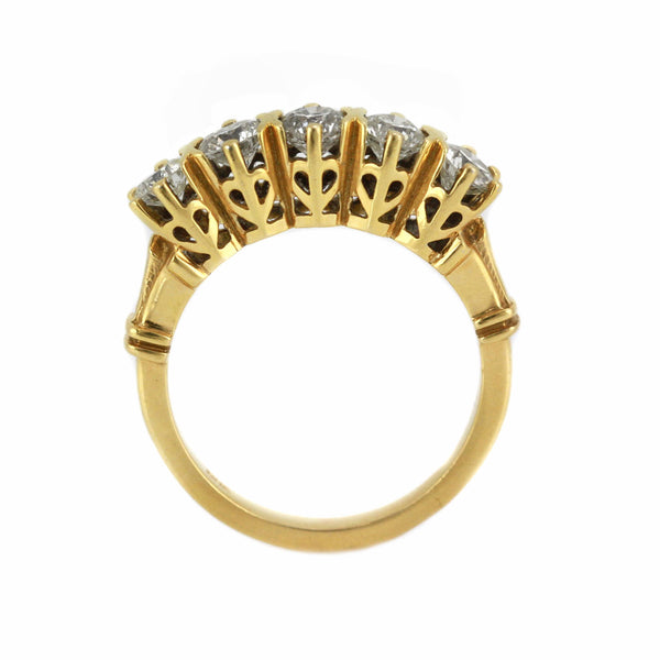 1.30ct Round Diamonds in 14K Yellow Gold Wedding Anniversary Ring