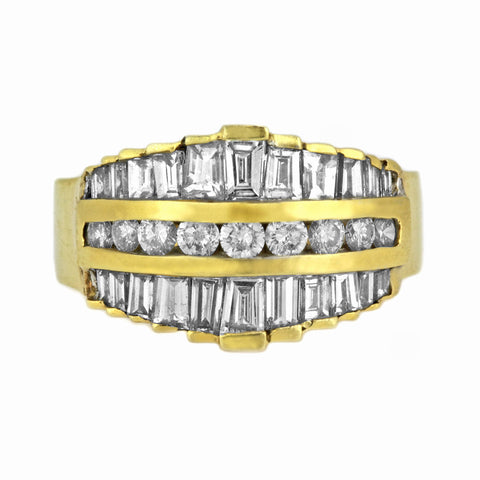 2.10ct Diamonds in 14K Yellow Gold Art Deco Anniversary Ring