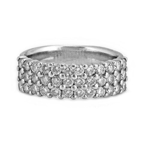 1.00ct Round Diamond in 18K White Gold Band Ring