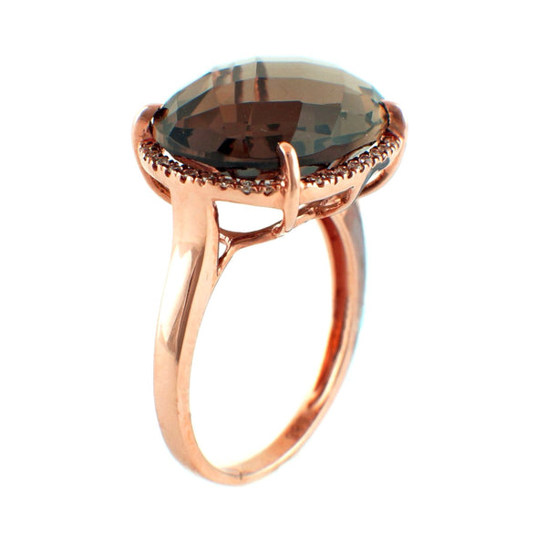 8.54tcw Faceted Cabochon Smoky Quartz & Diamonds in 14K Gold Cocktail Ring