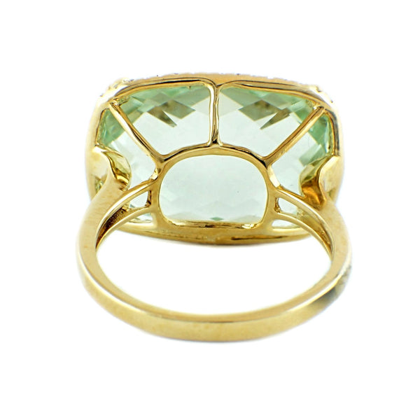 13.99tcw Faceted Cabochon Green Amethyst & Diamonds in 14K Gold Cocktail Ring