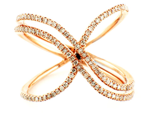 0.31ct Pavé Diamonds in 14K Gold Double Criss-Cross X Band Ring