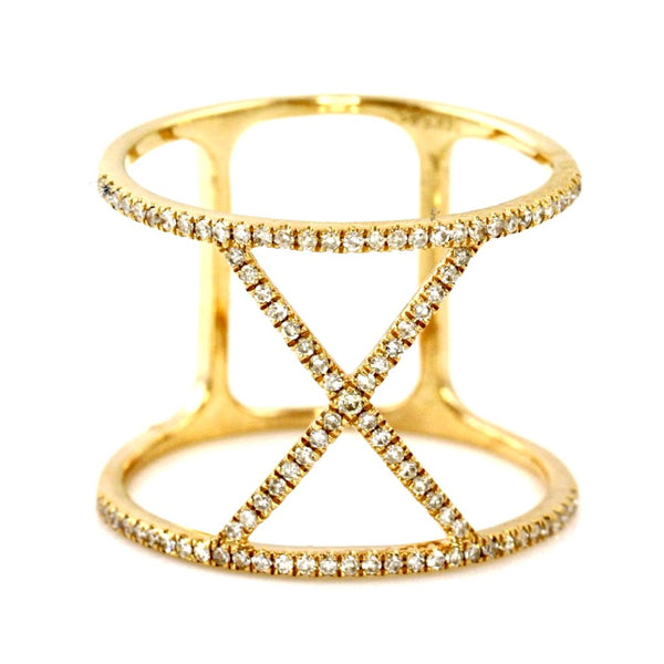 0.27ct Pavé Diamond Accents inin 14K Gold Roman Numeral X Band Ring