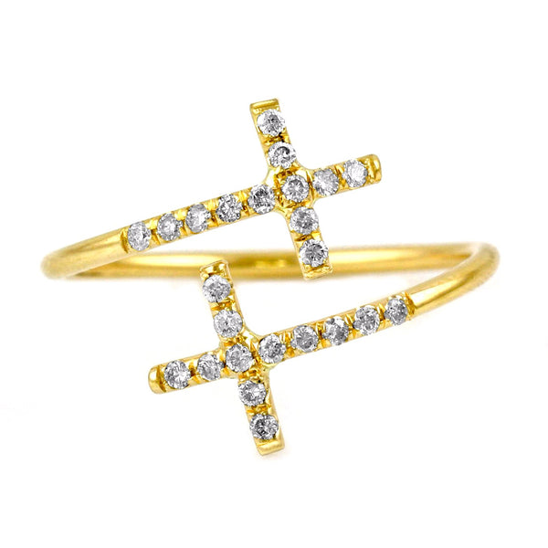 0.07ct Pavé Round Diamonds in 14K Gold Double Cross Wrap Band Ring