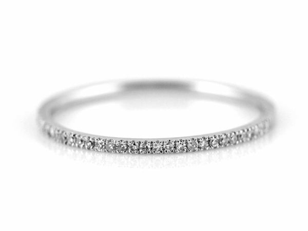 0.09ct Pavé Diamonds in 14K Gold Stackable Half Eternity Skinny Band Ring
