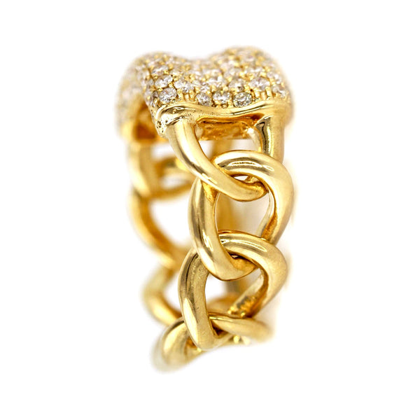 1.59ct Pavé Diamond in 14K Gold Concaved ID Curb Link Band Ring