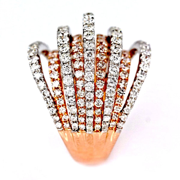 3.33ct Pavé Diamonds in 14K 2Tone Gold 9-Rows Cluster Statement Ring