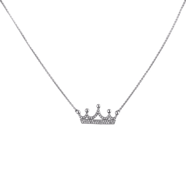 0.18ct Pavé Diamond in 14K Gold Crown Charm Necklace