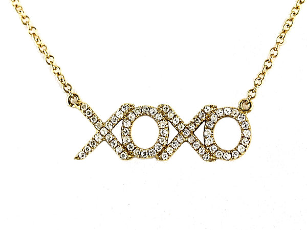 0.19ct Pave Diamond in 14K Gold Hugs & Kisses XOXO Charm Necklace