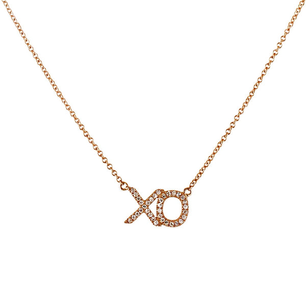 0.11ct Pavé Diamond in 14K Gold Hug & Kiss XO Charm Necklace