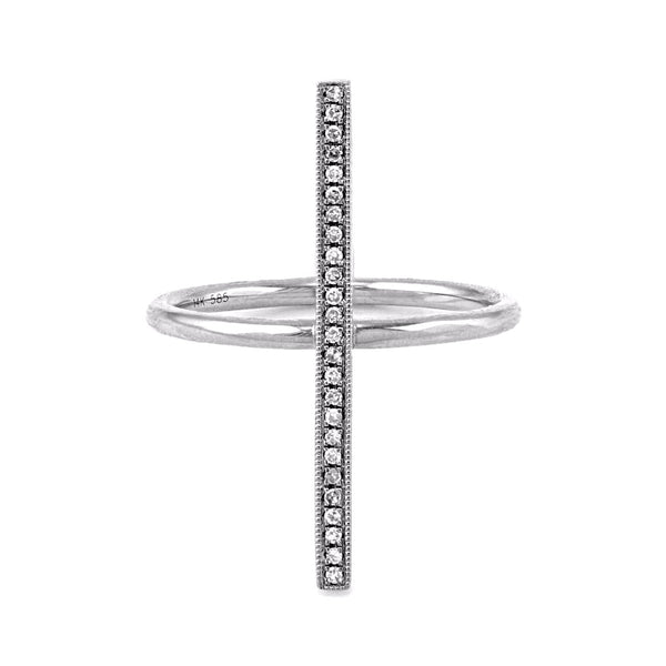 0.08ct Round Diamond in 14K Gold Milgrain Vertical Bar Ring