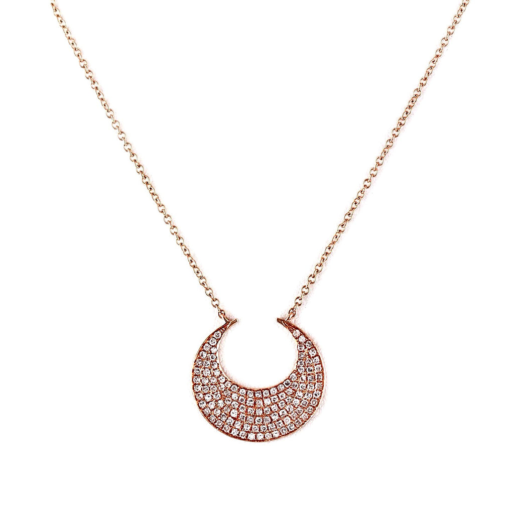 0.34ct Pavé Diamond in 14K Gold Crescent Moon Charm Necklace