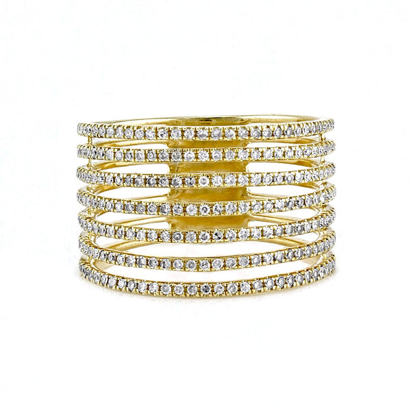 0.55tcw Round Diamonds in 14K Gold Seven Cluster Wide Band Ring