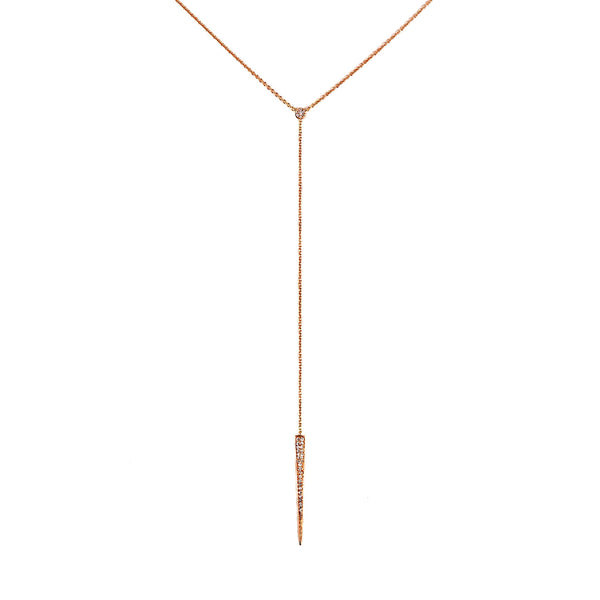 0.14ct Pavé Diamond Accented in 14K Gold Spike Dagger Drop Lariat Necklace
